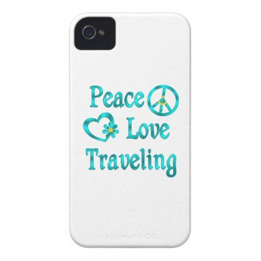 El viajar del amor de la paz iPhone 4 carcasa