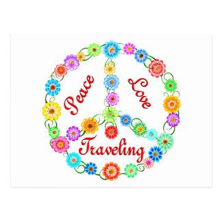 El viajar del amor de la paz postales