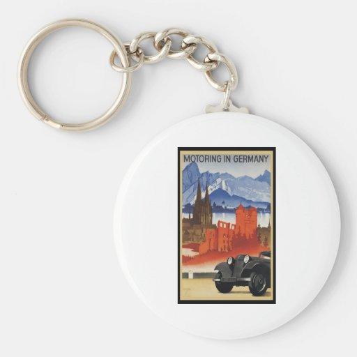 El viajar en automóvili en Alemania Llavero Redondo Tipo Pin