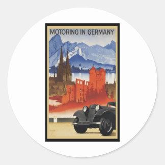 El viajar en automóvili en Alemania Pegatina Redonda