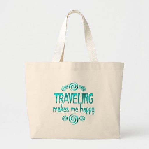 El viajar me hace feliz bolsas lienzo