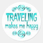 El viajar me hace feliz etiquetas redondas