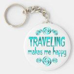El viajar me hace feliz llavero personalizado
