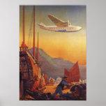 El viajar plano del vintage el vacaciones en el Or Posters