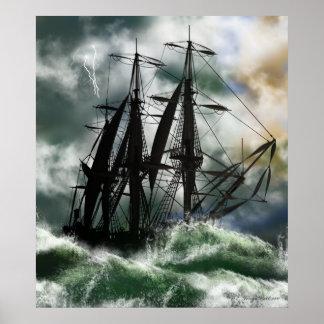 El viaje - Columbus que navega el océano Póster
