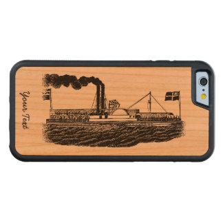 El viaje del barco del vapor/de paleta en tiempos funda de iPhone 6 bumper cerezo