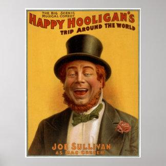 El viaje del gamberro feliz en todo el mundo póster
