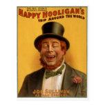 El viaje del gamberro feliz en todo el mundo tarjetas postales