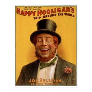 El viaje del gamberro feliz en todo el mundo postal
