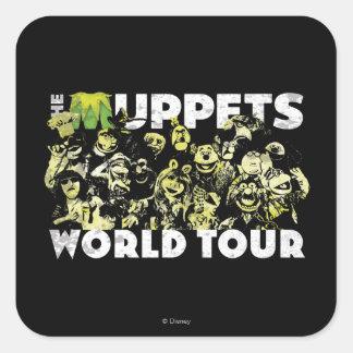 El viaje del mundo de los Muppets Pegatina Cuadrada
