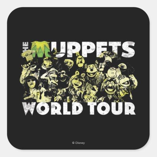 El viaje del mundo de los Muppets Calcomania Cuadradas Personalizada
