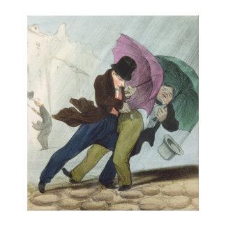 El viaje del paraguas, de 'Flibustiers Parisiens Impresión En Lona Estirada