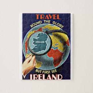 El viaje del vintage alrededor del globo considera puzzle