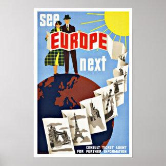 El viaje del vintage considera Europa Póster