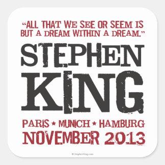 El viaje euro de Stephen King Pegatina Cuadrada