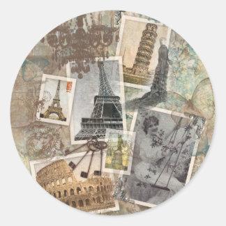 El viaje Europa del vintage fotografía París Pegatina Redonda