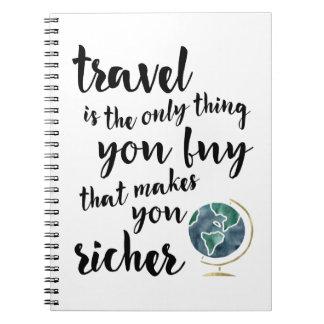 El viaje le hace un cuaderno más rico de la cita