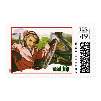 El viaje por carretera retro del vintage sella el sello