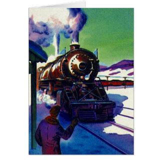 El viaje retro del tren del vintage tiene una buen tarjeta pequeña