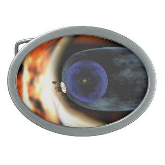 El viajero aplasta vista de la Sistema Solar Hebillas De Cinturon Ovales