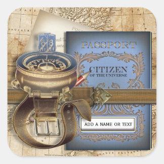 El viajero personalizado pegatinas cuadradases personalizadas