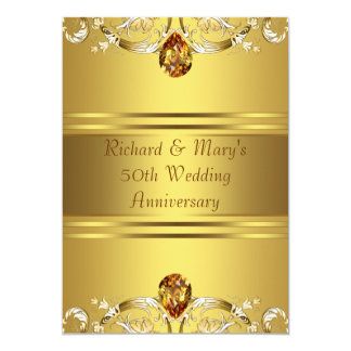 El Victorian del oro florece aniversario del oro Invitación 12,7 X 17,8 Cm