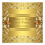 """El Victorian del oro florece aniversario del oro Invitación 5.25"""" X 5.25"""""""