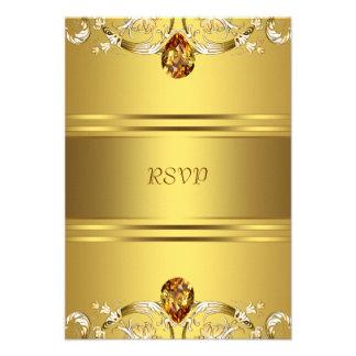El Victorian del oro florece el aniversario RSVP d Invitacion Personalizada