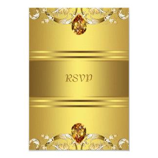 El Victorian del oro florece el aniversario RSVP Invitacion Personalizada