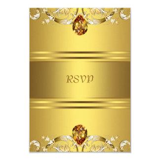 El Victorian del oro florece el aniversario RSVP Invitación 8,9 X 12,7 Cm