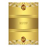 """El Victorian del oro florece el aniversario RSVP Invitación 3.5"""" X 5"""""""
