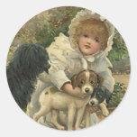 El Victorian del vintage del pegatina rescata perr