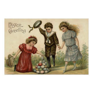 El Victorian Pascua coloreó la cesta adornada del  Posters
