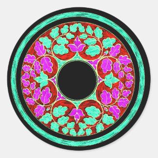 El Victorian púrpura y verde deja el ornamento Etiqueta Redonda