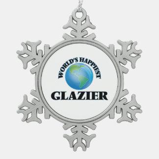 El vidriero más feliz del mundo adorno de peltre en forma de copo de nieve