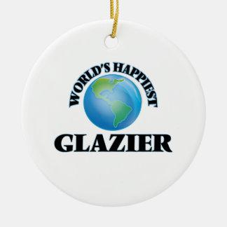 El vidriero más feliz del mundo adorno redondo de cerámica