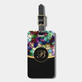 El vidrio abstracto el   de la mancha del mosaico etiquetas para maletas