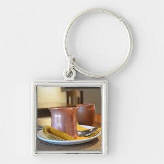 El vidrio de bronce llavero cuadrado plateado