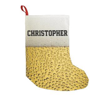 El vidrio de cerveza personaliza calcetín de navidad pequeño