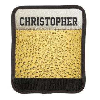 El vidrio de cerveza personaliza funda para asa de maleta