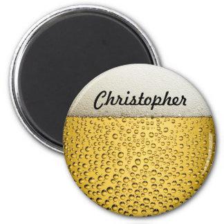 El vidrio de cerveza personaliza la foto imán redondo 5 cm