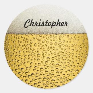 El vidrio de cerveza personaliza la foto pegatina redonda