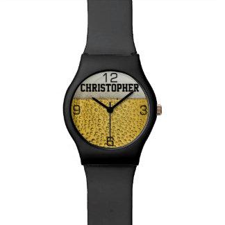 El vidrio de cerveza personaliza relojes de mano