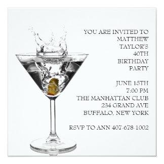 """El vidrio de Martini sirve a la fiesta de Invitación 5.25"""" X 5.25"""""""