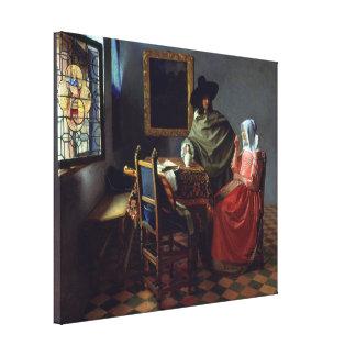 El vidrio de vino de Juan Vermeer Impresión En Lienzo
