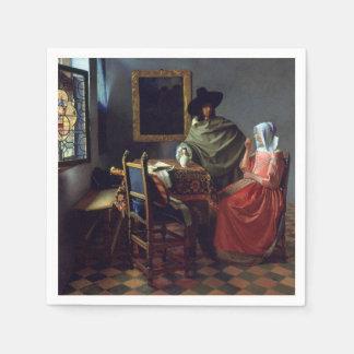 El vidrio de vino de Juan Vermeer Servilleta Desechable