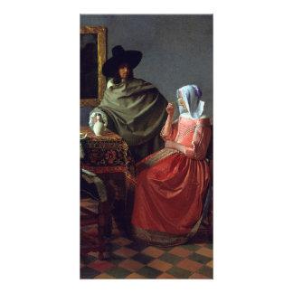 El vidrio de vino de Juan Vermeer Tarjeta Fotografica Personalizada