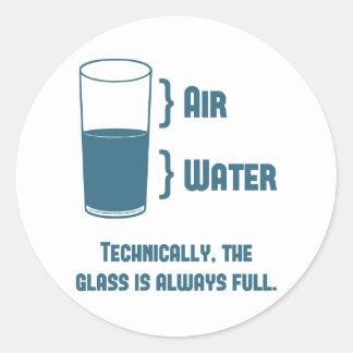 El vidrio es técnico siempre lleno pegatina redonda