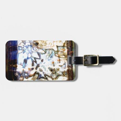 El vidrio florece acentos abstractos del diseñador etiquetas para equipaje