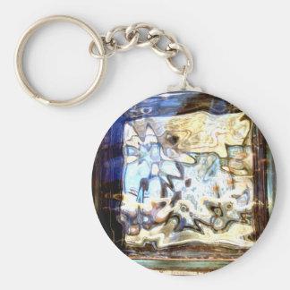 El vidrio florece acentos abstractos del diseñador llavero redondo tipo pin